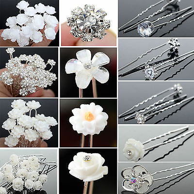 20/40 lot Crystal Diamante Pearl Flower Bridal Wedding Prom Hair Pin Clip GripNE