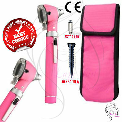 Pink Mini Otoscope Fiber Optic Medical Diagnostic Examination CE 1 FREE BULB  ✔