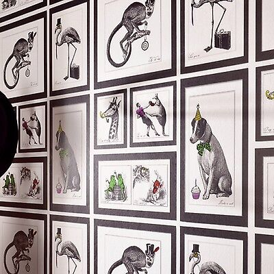 Quirky Alice in Wonderland Inspired Framed Animal Wallpaper Black White & Colour