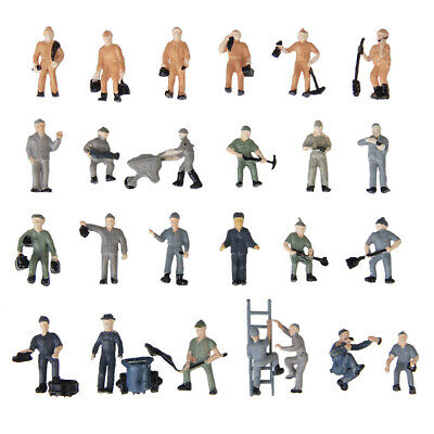 Ho Scale-1:87 Model Figures 25 Train Railway Building Workers In Different Poses