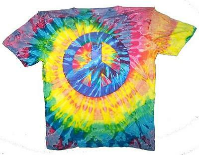 PETITE PEACE SIGN RAINBOW TYE DYED TEE SHIRT unisex SIZE MED  tie dye NEW PET12