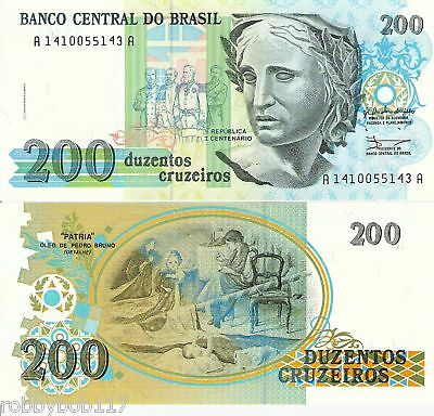 BRAZIL 200 Cruzeiros Banknote World Paper Money UNC Currency BILL Note p229