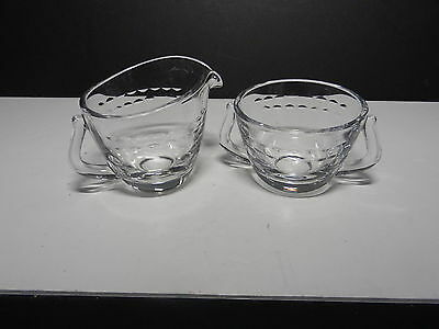Fostoria Contour Blank Circlet Cut #840 Cream & Sugar Set Clear ca 1954-1969