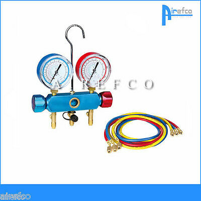 "R410a - R22  Air Conditioning & Refrigeration Gauges Manifold + 60"" Hoses"