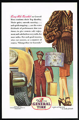 1946 Black Americana Porter Carrying Luggage Mink Fur Coat General Tire Print Ad
