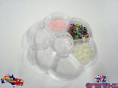 Bead/Craft Flower Shape Plastic Clear Storage Container 7 Compartments AU