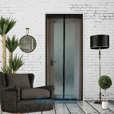 Black  Hands-Free Screen Door with magnets Anti Mosquito Bug Curtain 100*210 cm