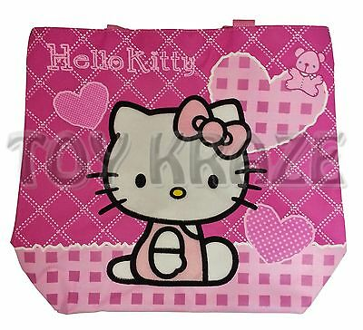 HELLO KITTY TOTE! PINK WHITE STITCH TEDDY BEAR CARRY ON SHOULDER BAG! SANRIO NWT