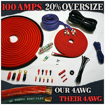3000W Oversize 4 Gauge Amp Install Wiring Kit 4 AWG Amplifier Installation Cable