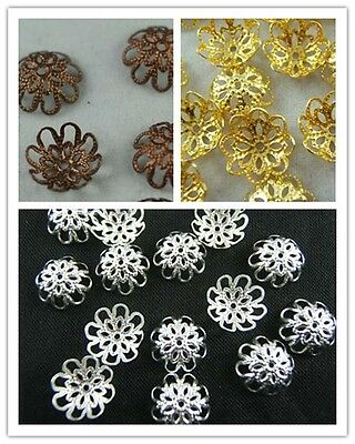 Wholesale Lot Gold /Silver/Copper Plated Flower Bead Caps Spacer Bead 10/12mm