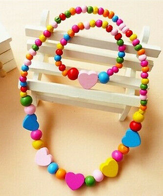 Lovely Cute Wooden Necklace And Bracelet Kids Set kids Gift Party Supply