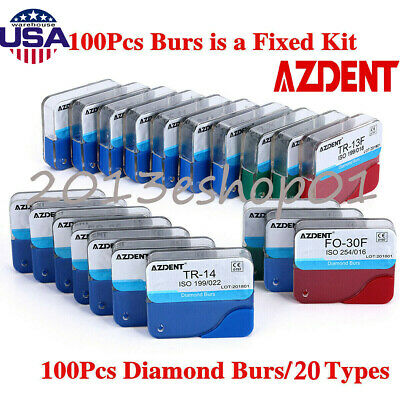 250pcs Mani Diamond Burs Drill for Dental High Speed Handpiece 150 TYPES for US