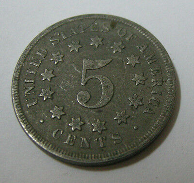 Usa America United States 5 Five Cents 1869 Shield Nickel