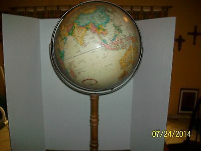Vintage Replogle 15 inch Globe  On Stand 38 inches tall Wood and Brass Stand