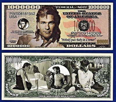 1-Patrick Swayze Dollar Bill -Dirty Dancing- Movie Actor  - Collectible-Z1