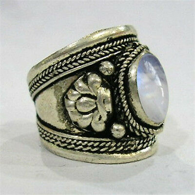 Large Adjustable Tibetan Big Oval Rainbow Moonstone Gemstone Dorje Amulet Ring