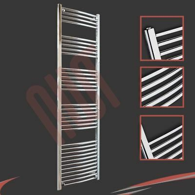 500mm(w) x 1800mm(h) Curved Chrome Heated Towel Rail 3012 BTUs Radiator Warmer