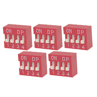 5 Pcs 2.54mm Pitch 4 Position Piano Type DIP Switch Red Umxeu
