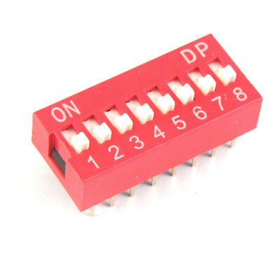 10 Pcs 2.54mm Pitch 8 Position Piano Type DIP Switch Red