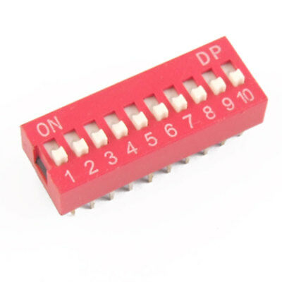 10 Pcs 2.54mm Pitch 10 Position Slide Type DIP Switch Red Engcr