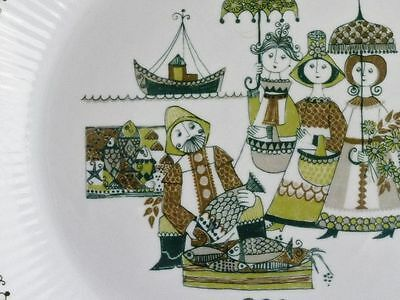 BEAUTIFUL RETRO FIGGJO TURI  DESIGN ''MARKET'' PATTERN ENTREE PLATE 23.4CM.