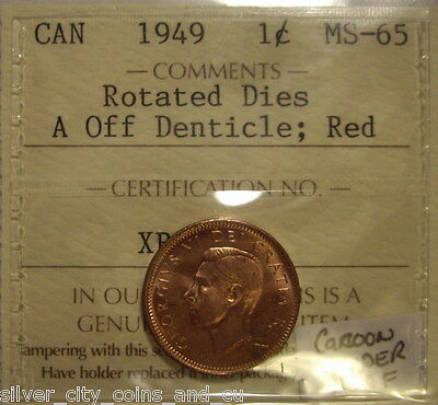 George VI 1949 A Off Dent; Rot Dies; Die Clash  Small Cent - ICCS MS-65 (XBA480)
