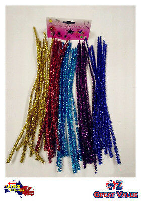 40 x Kids' Craft Chenille Stick Pipe Cleaner Metallic Color Xmas Decoration 088