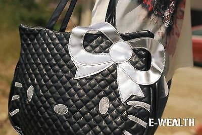 new HelloKitty Black/White/Pink leather tote purse Diaper shoulder bag handbag