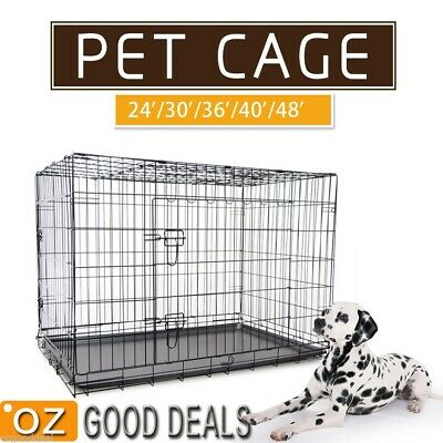 """New 24""""30""""36""""42""""48"""" Large Collapsible Metal Pet Dog Puppy Cage Crate Tray kennel"""