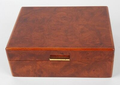 VINTAGE BURLWOOD VENEER HUMIDOR WITH A FRENCH HYGROMETER POSSIBLY DUNHILL