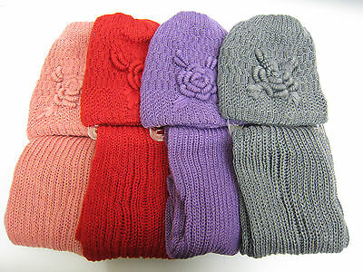 Ladies Knitted Hat & Scarf Set with Flower Details Style 90755