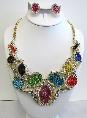 Gold Plated Multicolor Crystal Large Chunky Statement Necklace Set # 49 New