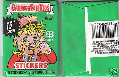 1988 Garbage Pail Kids Series 15 Wax Pack from Box!