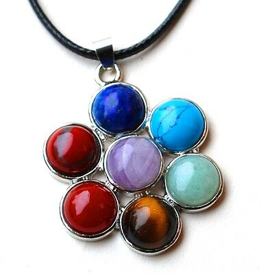 Reiki Healing Energy Charged Crystal Chakra Pendant Flower Necklace & Cord Uk