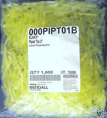 "1000 Elkay Universal Pipette Tips 1-200Ul, 2"" Lemon Pp Polypropylene, Yellow Usa"