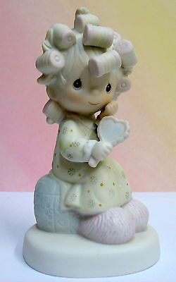 Precious Moments Girl W/  Hair Curlers & Mirror ~ Pm-821 ~ Smile God Loves You