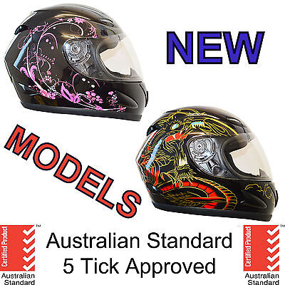NEW FULL FACE MOTORCYCLE MOTOR BIKE HELMET ADULT 5 tick approved