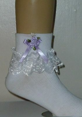 """Girls White Frilly Lace Socks Size Lots Of Sizes Lilac Bow And Beads"""""""