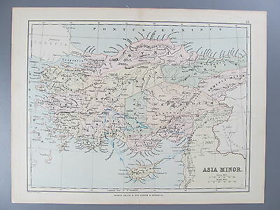 Original Color Lithograph Map of Asia Minor, London, 1890