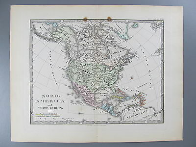 Original Color Lithograp Map of North America, Stieler's Schul-Atlas, circa 1890