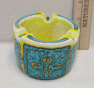 Pottery Ceramic Ashtray Italy Souvenir Collectable Blue & Yellow Design