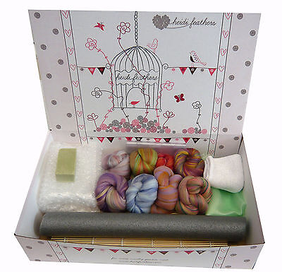 Heidifeathers® Boxed WET FELTING Starter Kit - 'Blended Bamboo & Merino Wool'