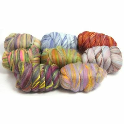 Heidifeathers® 'Bamboo Ripple Mix'  8 Blends of Merino and Bamboo - Felting Wool