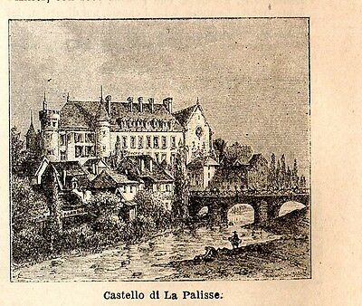 Stampa antica LAPALISSE piccola veduta Allier 1898 Ancien gravure Old print
