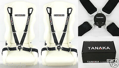 2 Tanaka Black 4 Point Camlock Quick Release Racing Seat Belt Harness Fit Vw *