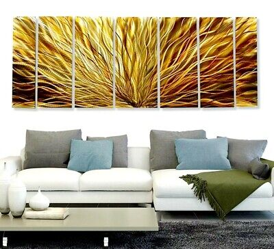 Huge Abstract Painted Metal Wall Art Home Decor - Amber Plumage XL by Jon Allen