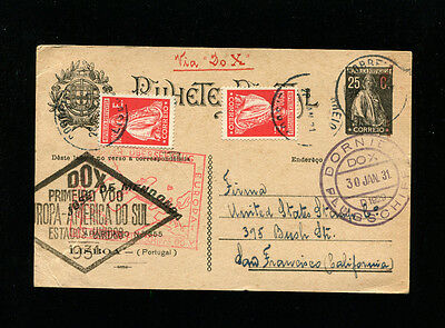 DoX CoverPortugal 1930-31 Harms24e  to USA via Rio on upgraded postal stationery