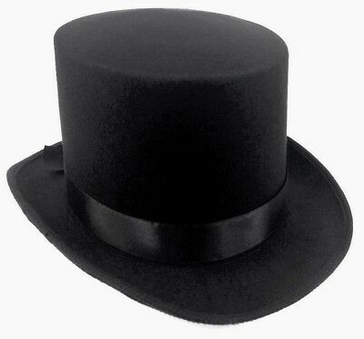 Deluxe Black Top Hat For Fancy Dress Costume Book Day Week Mad Hatter Steampunk