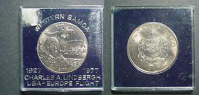 1977 West Samoa Large coin 1 tala,Charles Lindbergh UNC,in Holder