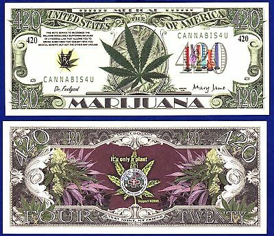 1- MARIJUANA-Legalize -Medical- Dollar Bill--Novelty -Pot- Weed -MONEY- C1